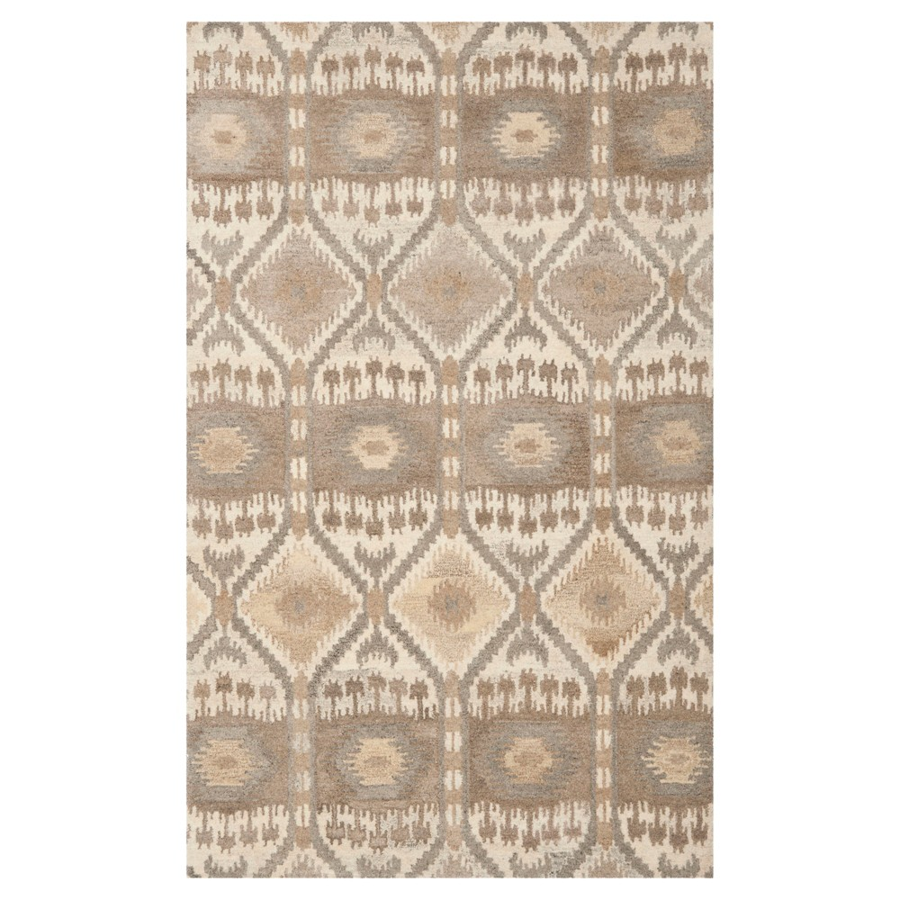 Natural/Multicolor Abstract Tufted Area Rug - (5'X8') - Safavieh, White