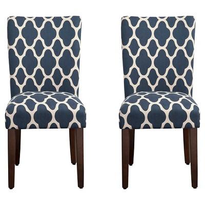 Parson Dining Chair Wood/Navy Geo (Set of 2)- HomePop