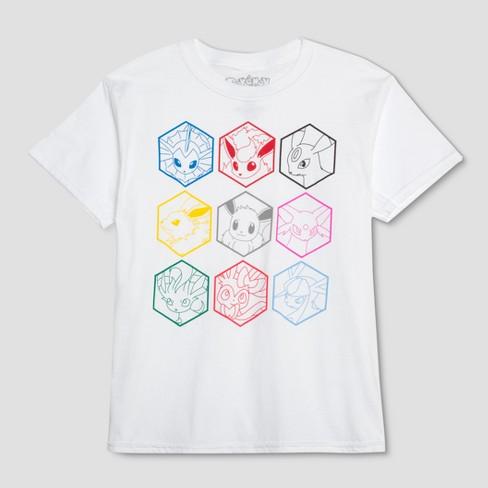8a5f89a0 Boys' Pokemon 9 Hexagons Short Sleeve Graphic T-Shirt - White : Target
