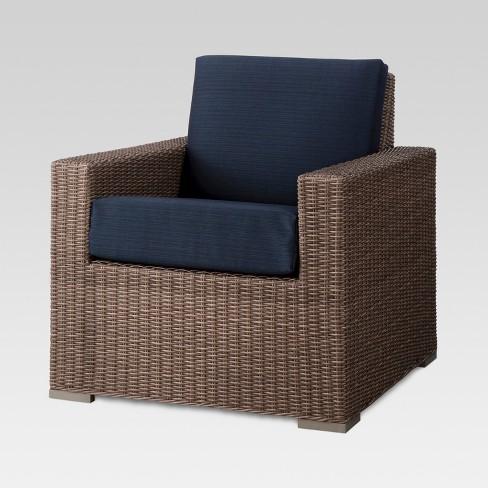 2c558b44c1d Heatherstone Wicker Patio Club Chair Navy - Threshold™   Target