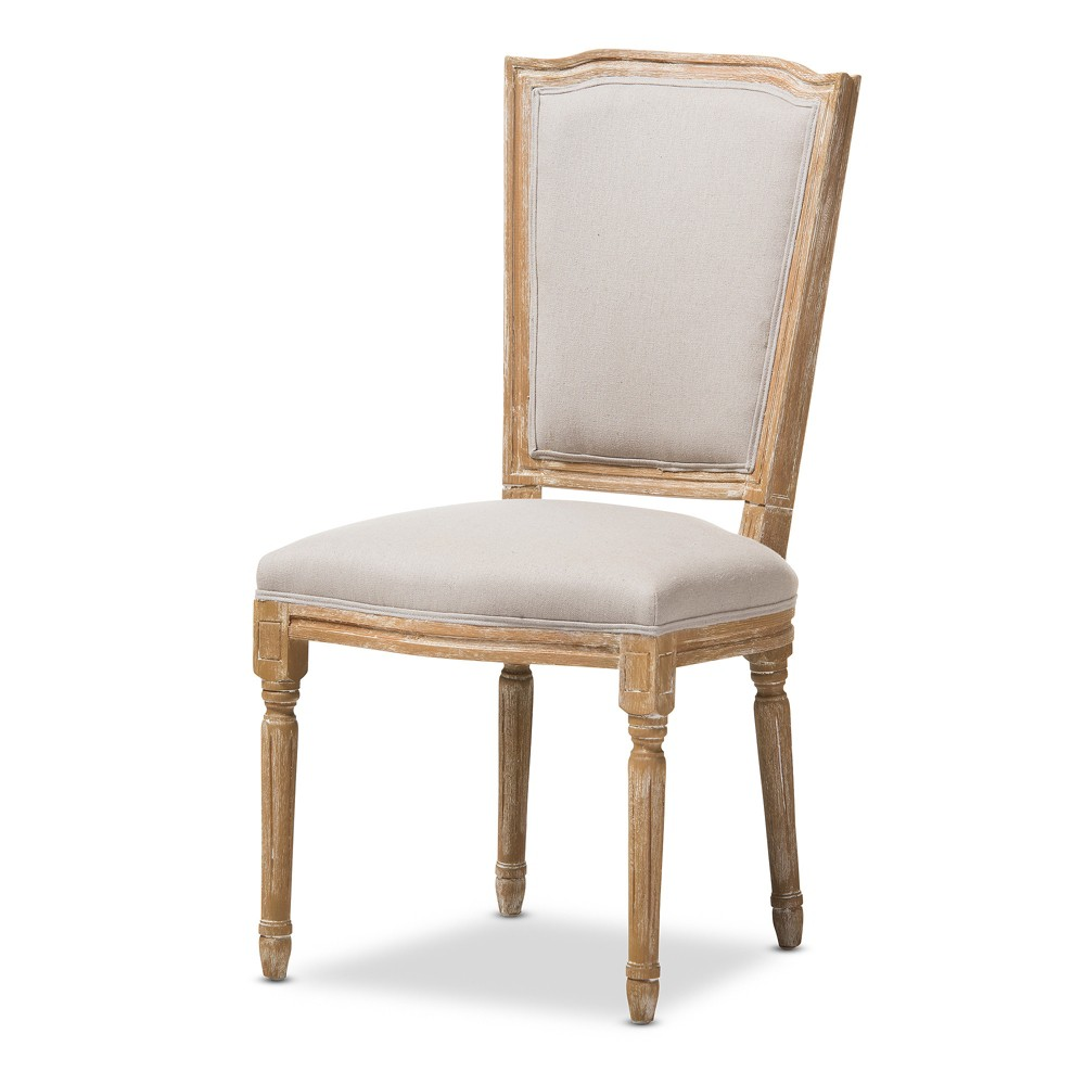 Cadencia French Vintage Cottage Weathered Oak Wood Finish and Fabric Upholstered Dining Side Chair - Beige - Baxton Studio, Buff Beige