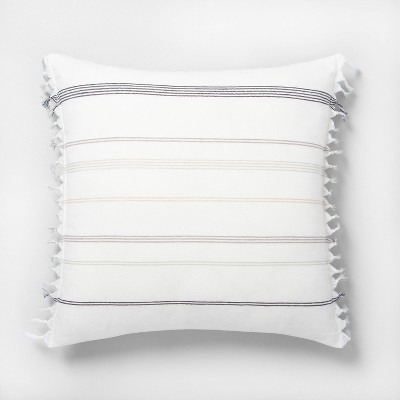 22x22 Knotted Fringe Stripes Throw Pillow Neutral / Sour Cream - Hearth & Hand™ with Magnolia