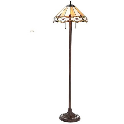 Plow & Hearth - Handmade Stained Glass Gold and Ruby Diamond Floor Lamp