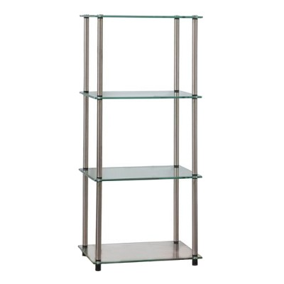 """39"""" Classic Glass 4 Tier Tower Clear Glass - Breighton Home"""