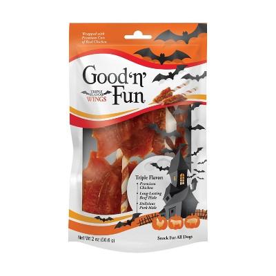 Good 'n' Fun Triple Flavor Bat Wings Dental Dog Treats - 2oz