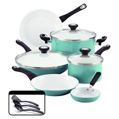 Farberware PURECOOK Ceramic Nonstick Cookware Set - Aqua(12Pc)