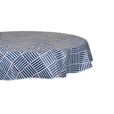 "70"" Cotton Grid Round Kitchen Tablecloth Blue - Design Imports"