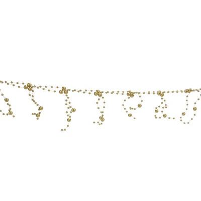 "Ganz 6' x 4"" Unlit Champagne Gold Matte Finish Beaded Christmas Garland"