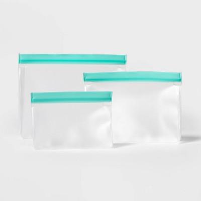 3pk Plastic Reusable Food Storage Bags - Sun Squad™