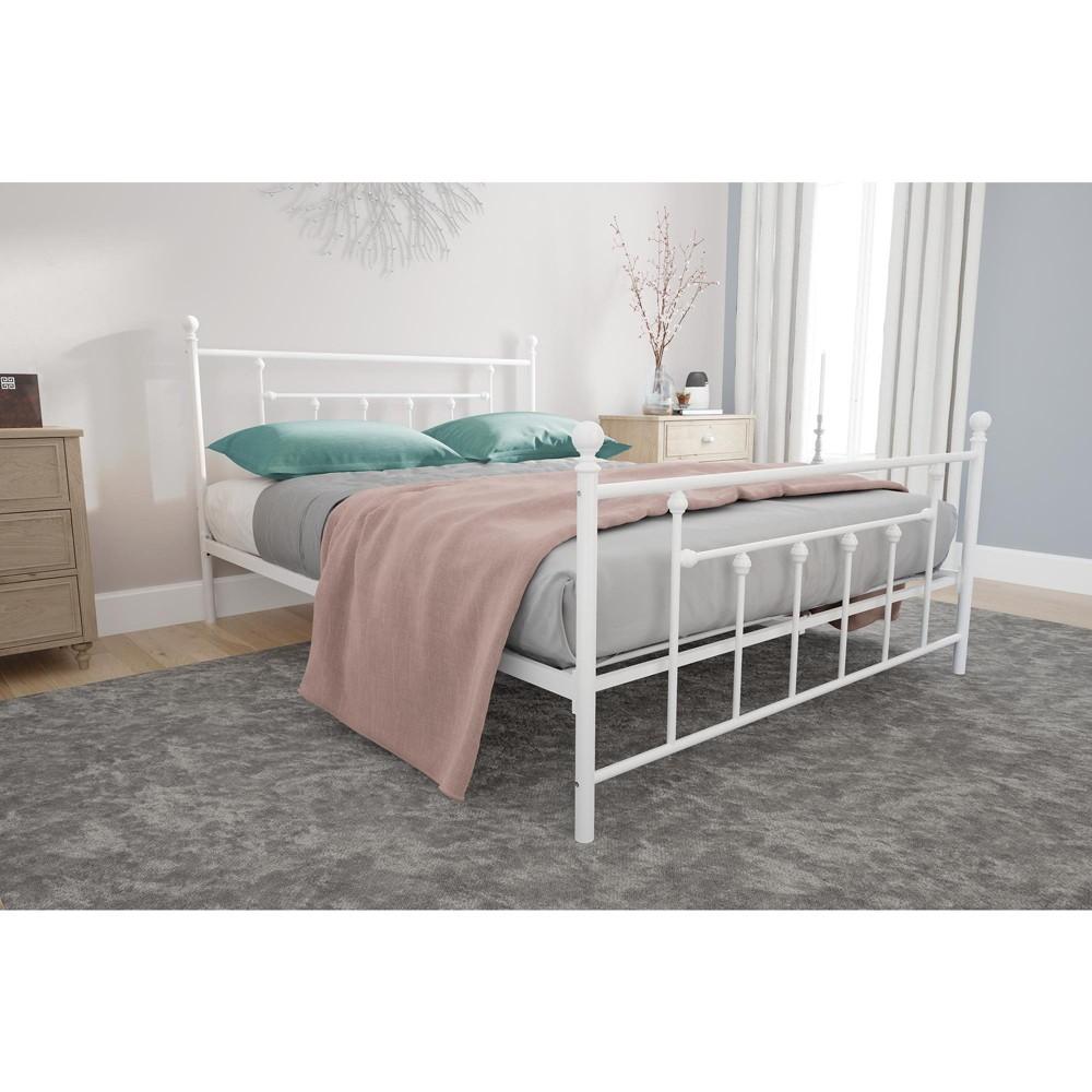 Milan Metal Bed (Queen) White - Room & Joy