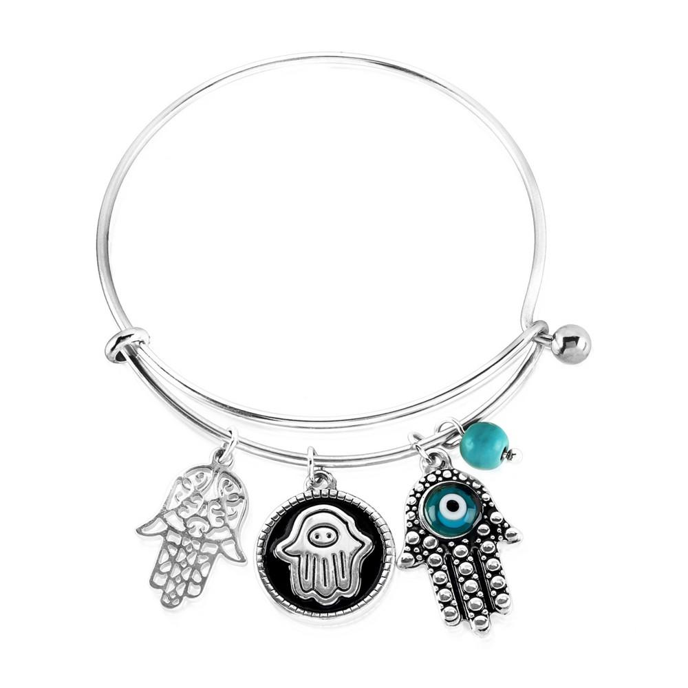Elya Hamsa Charm with Evil Eye Bangle Bracelet - Silver