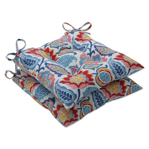 2pc Outdoor/Indoor Moroccan Flowers  Wrought Iron Seat Cushion Slate Blue - Pillow Perfect - image 1 of 1
