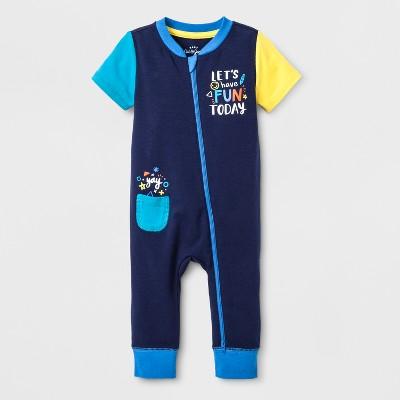Baby Boys' Short Sleeve Romper - Cat & Jack™ Navy Newborn