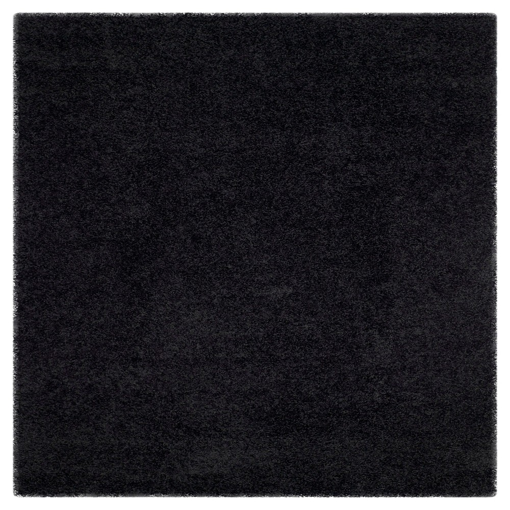 Black Solid Loomed Square Area Rug - (6'7