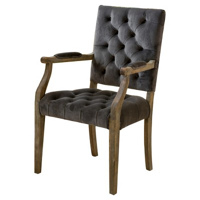 Saltillo New Velvet Arm Dining Chair - Charcoal - Christopher Knight Home