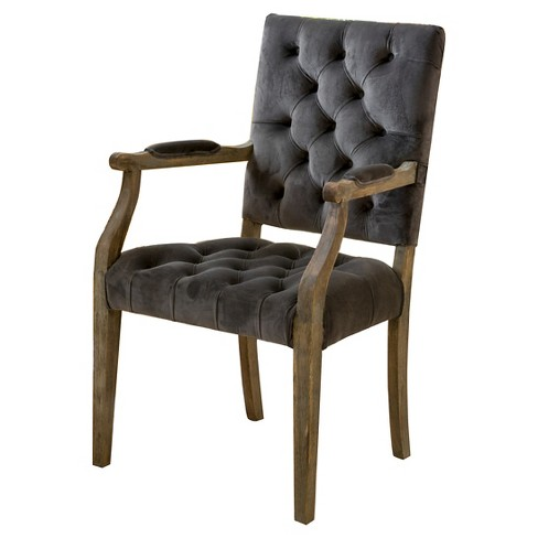 Saltillo New Velvet Arm Dining Chair - Charcoal - Christopher Knight Home - image 1 of 4