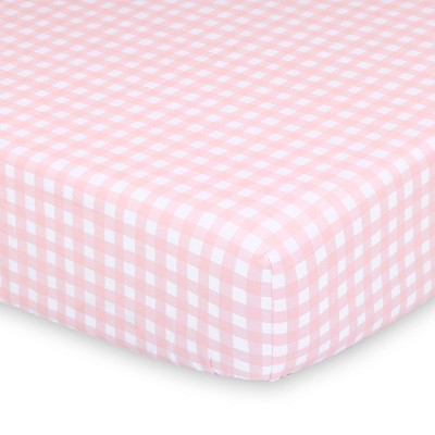The Peanutshell Farmhouse Pink Check Fitted Sheet