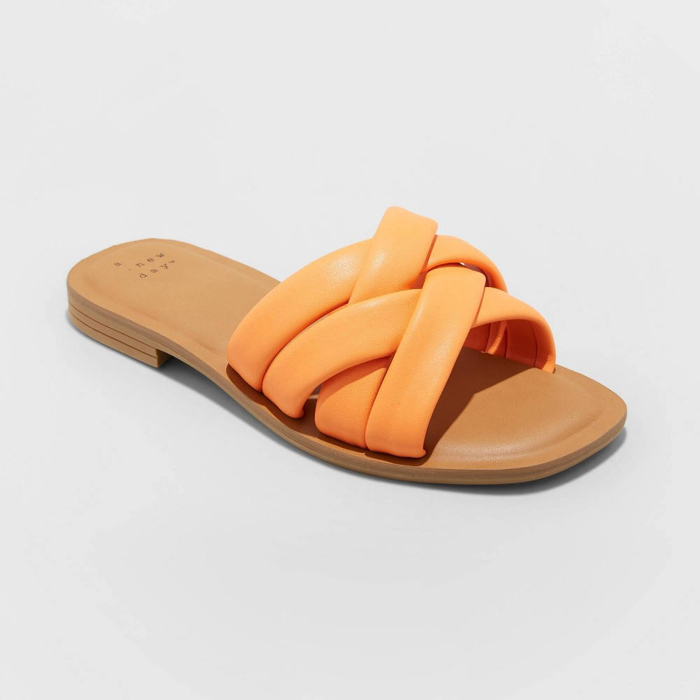 Women 39 S Rory Wide Width Padded Slide Sandals A New Day 8482 Orange 9 5w