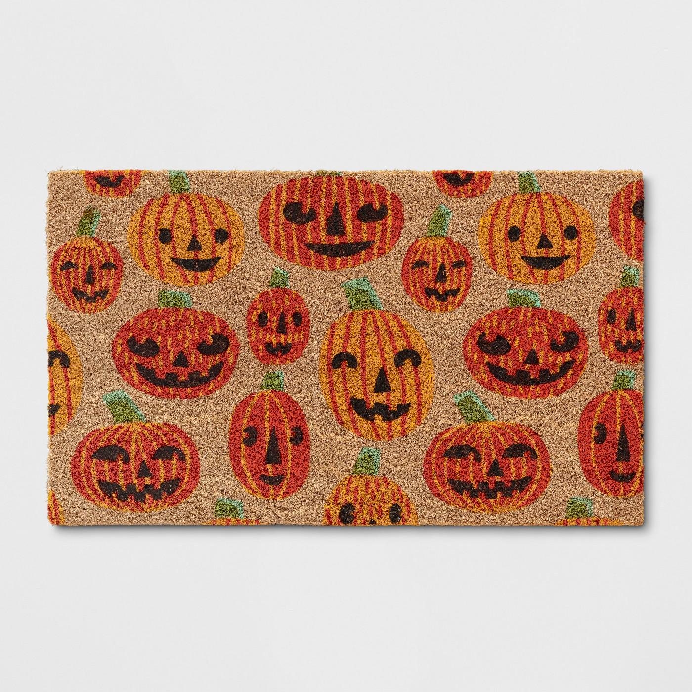 """1'6""""x2'6"""" Halloween Pumpkin Doormat Orange - Hyde and Eek! Boutique™ - image 1 of 3"""