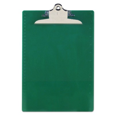 """Saunders Recycled Plastic Clipboards 1"""" Clip Cap 8 1/2 x 12 Sheets Green 21604"""