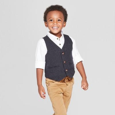 Toddler Boys' Dressy Vest - Cat & Jack™ Charcoal 2T