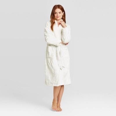 Women's Cozy Faux Fur Robe - Stars Above™ Gray M/L