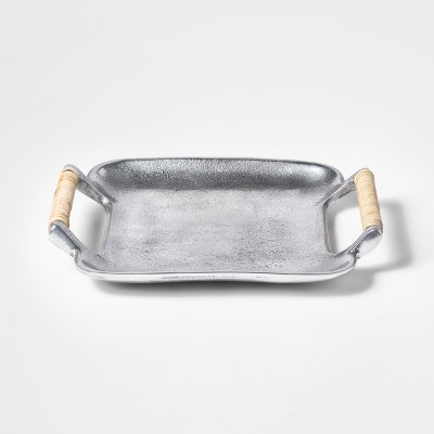 9.2  x 7.7  Metal Tray With Wrapped Handles Silver - Threshold™