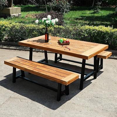3pc Acacia Patio Dining Set with 2 Benches - Teak - Captiva Designs