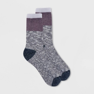 Alaska Knits Women's Wool Blend Chunky Colorblock Crew Boot Socks - 4-10