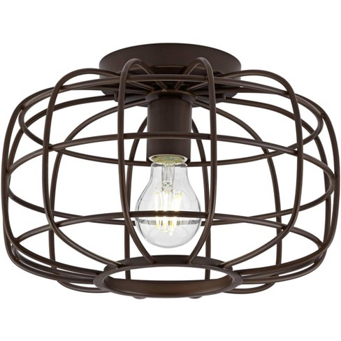 """Franklin Iron Works Rustic Farmhouse Ceiling Light Flush Mount Fixture Oil Rubbed Bronze 12"""" Wide Open Cage for Bedroom Kitchen - image 1 of 4"""