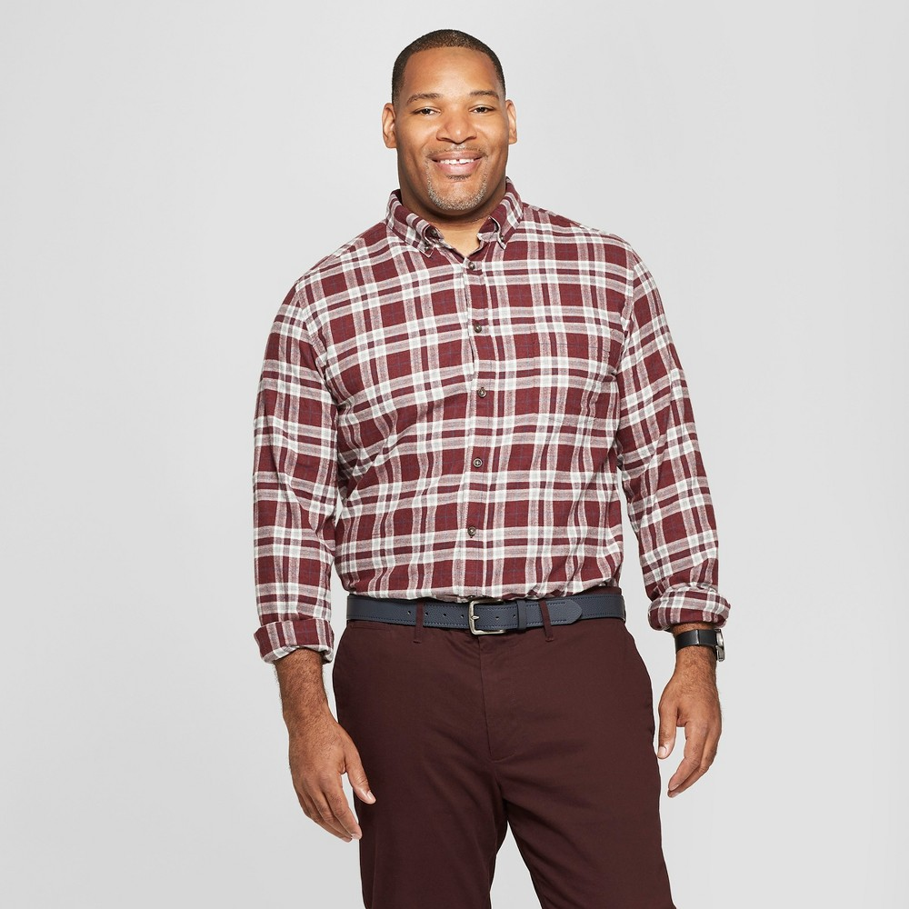 Men's Tall Plaid Standard Fit Long Sleeve Pocket Flannel Collared Button-Down Shirt - Goodfellow & Co Luxury Wine LT