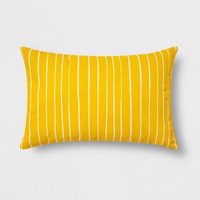 Reversible Stripe Lumbar Throw Pillow Yellow/White - Room Essentials™