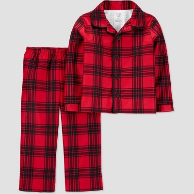 Toddler Boys' Plaid Coat Pajama Set - Just One You® made by carter's Red/Black 2T