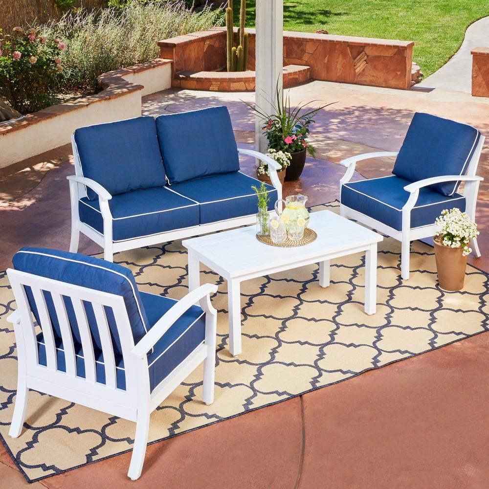 Image of 4pc Bridgeport Conversation Set with white finish - Royal Garden