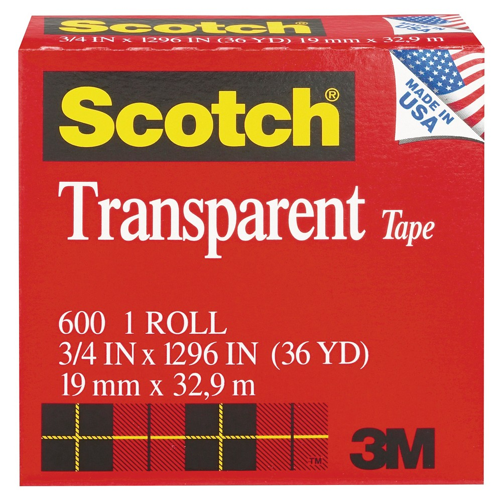 Scotch Transparent Tape, 1, Clear