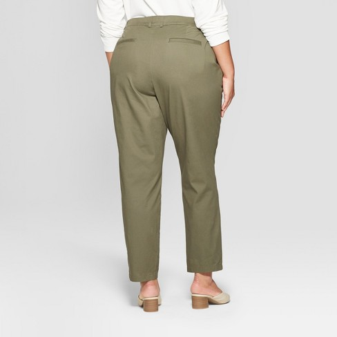 513f04e2429 Women s Plus Size Chino Pants - Ava   Viv™ Olive 18W   Target