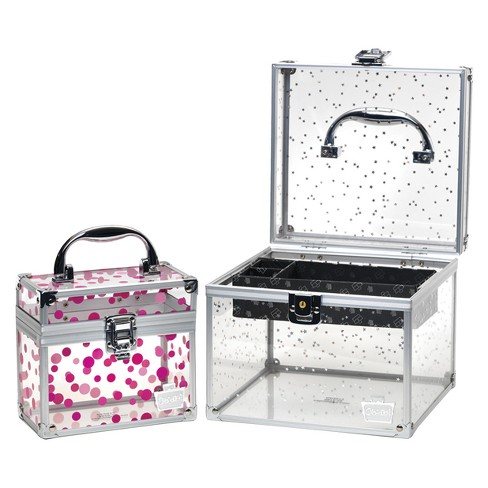 b24390fe6 Caboodles Prima Donna Acrylic Train Case Holographic Stars With Pink Dots :  Target