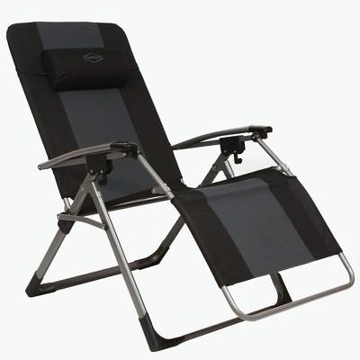 Kamp-Rite KAMPAC188 Outdoor Furniture Camping Beach Patio Sports Oversized Anti Gravity Folding Reclining Chair, Gray