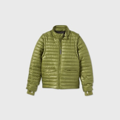 Boys' Adaptive Puffer Jacket - Cat & Jack™ Olive Green