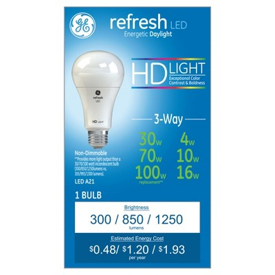 General Electric 30/70/100w Refresh Daylight Equivalent 3 Way LED HD