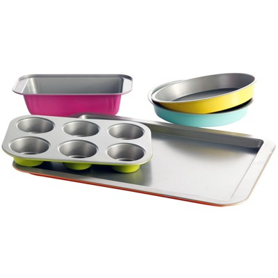 Gibsone Home Color Splash Lyneham 5 pc Carbon Steel Bakeware Set