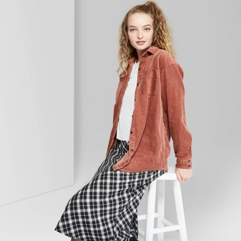 Women's Long Sleeve Oversized Button-Down Corduroy Shirt - Wild Fable™ Rose - image 1 of 3