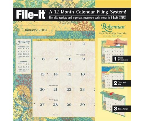 Bohemian 2019 File Folder Calendar -  (Paperback) - image 1 of 1