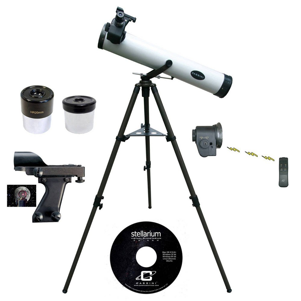 Image of Cassini 800mm x 80mm Astronomical Telescope Kit with Remote Controlled Electronic Focus - White