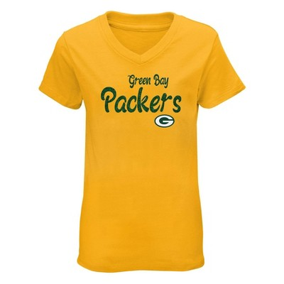 NFL Green Bay Packers Girls' Short Sleeve V-Neck Core T-Shirt