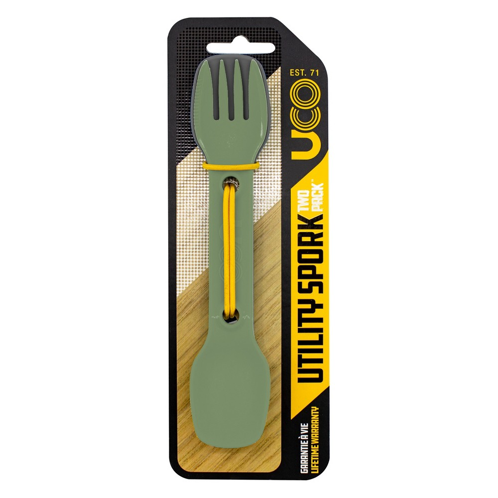 Image of UCO Utility Spork 2pk with tether - Camp Green, Gray Green