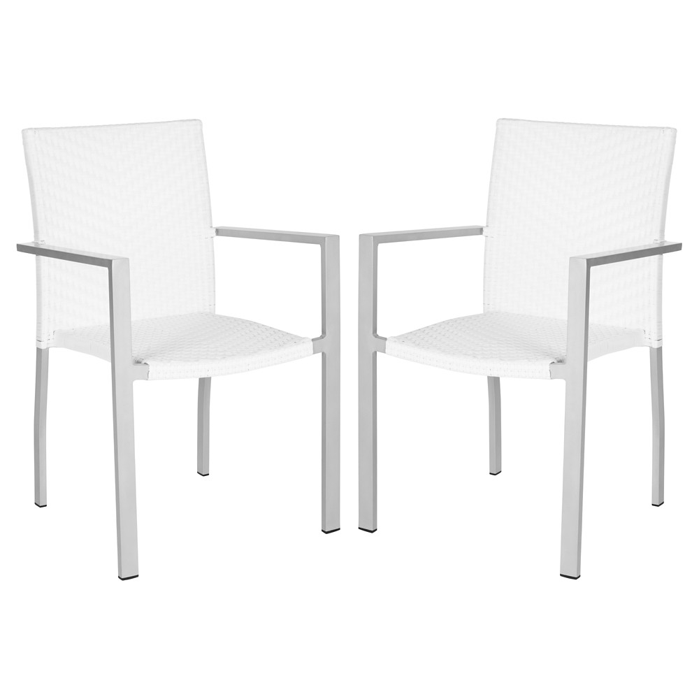 Bordeaux 2-Piece Wicker Patio Armchair Set - White - Safavieh, Off White
