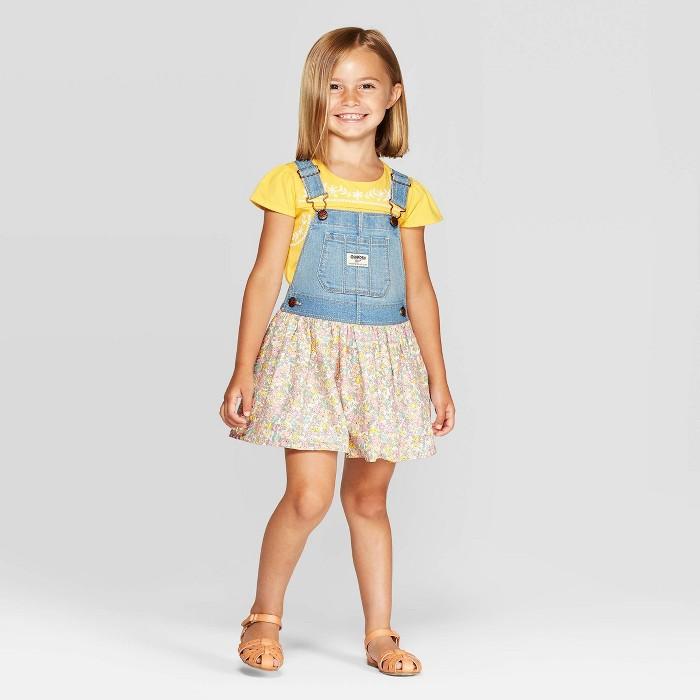OshKosh B'Gosh Toddler Girls' Floral Skirtall - Blue - image 1 of 3