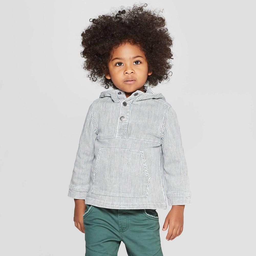 Genuine Kids from OshKosh Toddler Boys' Denim Pullover Jacket - Light Bleach Wash 5T, Blue