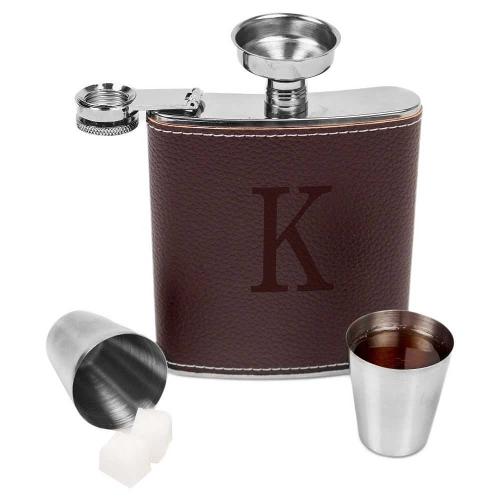 Monogram Groomsmen Gift Leather Wrapped Flask - K, Brown